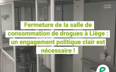 Fermeture de la salle de consommation de drogues à Liège:  un engagement politique clair est nécessaire